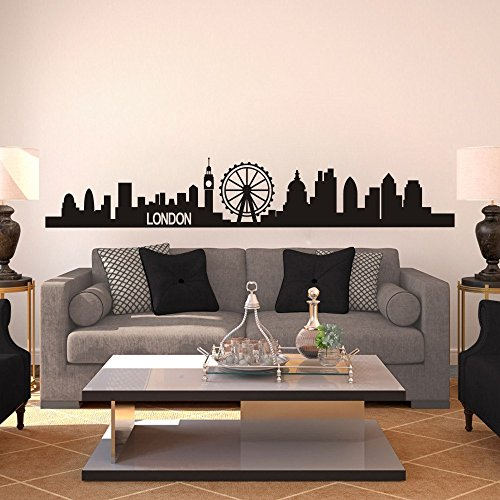 London Skyline Wall Decal City Cityscape Travel Vacation Destination Vinyl Wall Art Sticker (Small, Black) by MairGwall