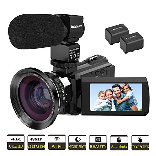 Video Camera Camcorder 4K,Kenuo HD 60FPS Digital WiFi Camera, 48.0MP 3.0 inch Touch Screen, IR...
