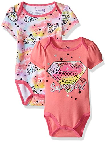 Warner Brothers Baby Girls' SuperBaby Girl 2 Pack Bodysuit Layette Set, Pink, 3-6 Months