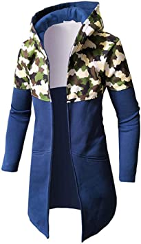 秋と冬の迷彩カラーマッチングロングメンズカジュアルセータースリムフード付きジャケット