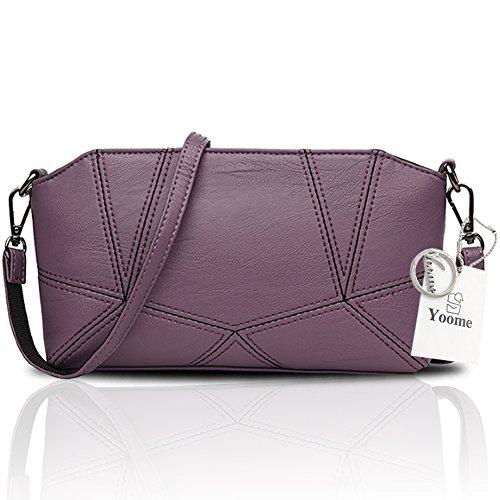 Yoome bolsos de negocios retro para las mujeres plana Crossbady bolso bolso de embrague con correa de muñeca - Navy Púrpura