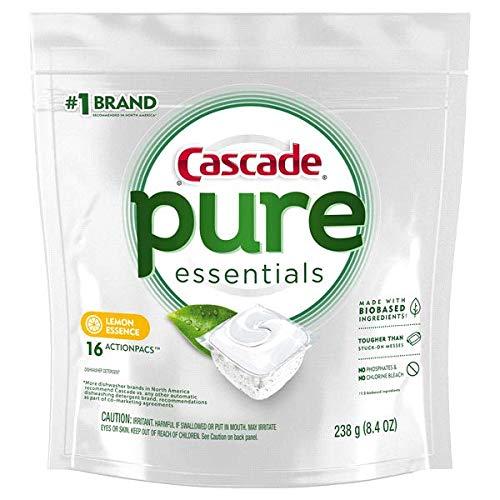 - Cascade Pure Essentials ActionPacs, Dishwashing Detergent, Lemon Essence, 16Count, 8.4 oz