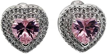 Hermosa Stud Earrings Sterling Silver Heart Wedding Jewelry Gemstone Cubic Zircon
