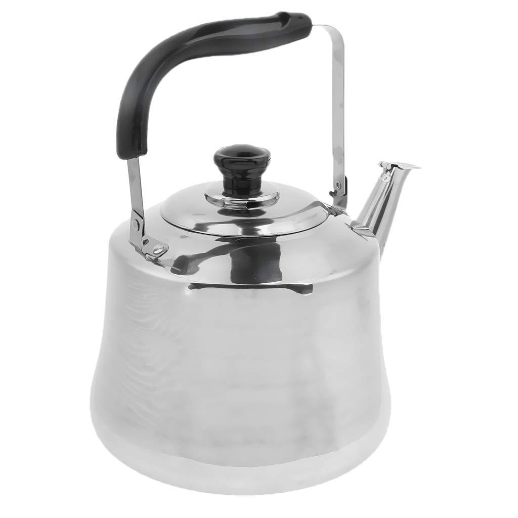 perfk Camping Kaffeekanne Edelstahl Teekessel Kaffeekessel Wasserkessel Wasserkocher mit Pfeife, Silber - 2L