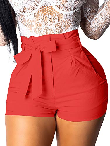 (GOBLES Womens Summer Casual Shorts High Waist Ruffle Bow Tie Shorts Orange)