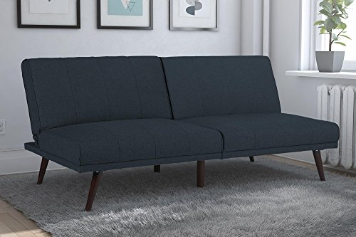 Position Futon - DHP Lone Pine Linen Upholstered Futon, Multi-Position and Split-Back Design, Navy Blue