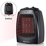 MARNUR Oscillating Space Heater Quiet Ceramic Heater ETL Listed with Overheat Protection, Tip-Over Protection Switch Adjustable Thermostat, 2 Heat Settings, Portable with Recessed Handle for Bedroom