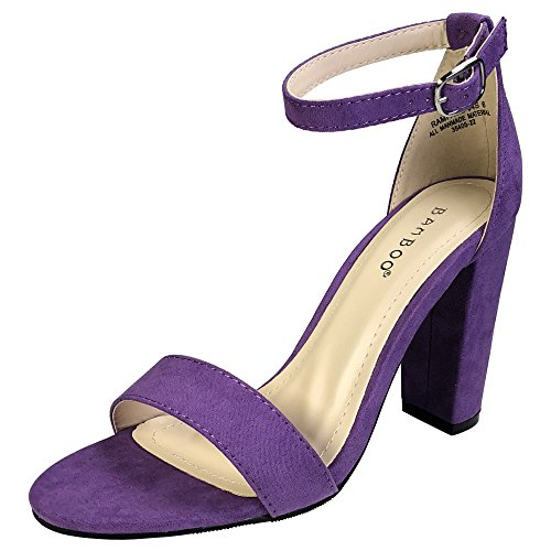 (BAMBOO Women's Single Band Chunky Heel Sandal with Ankle Strap, Purple Faux Suede, 6.5 B US)
