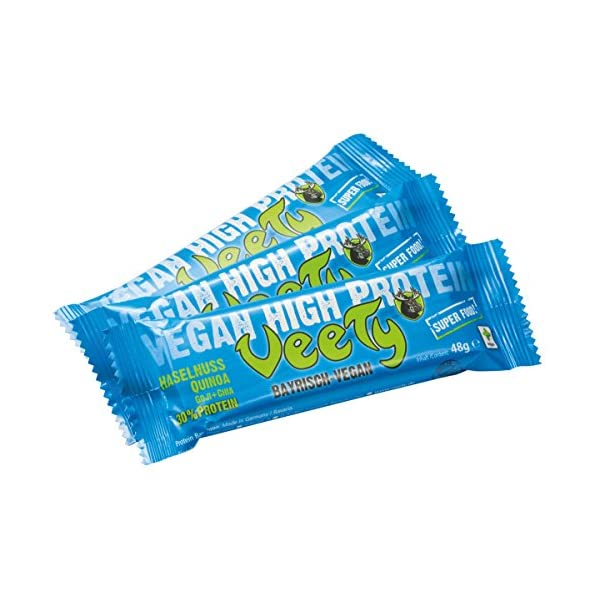 Veety – Vegan High Protein Bar 30% Hazelnut – Superfood (Goji, Quinoa, Chia) Rice Hemp Protein Vegan Natural Raw Made in Bavaria, 3 x 48g
