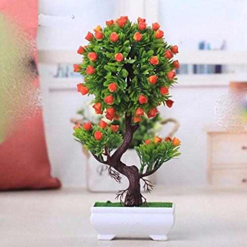 Situmi Artificial Fake Flowers Plastic Green Plants Bonsai Tree Desktopdecor,Orange 1528cm