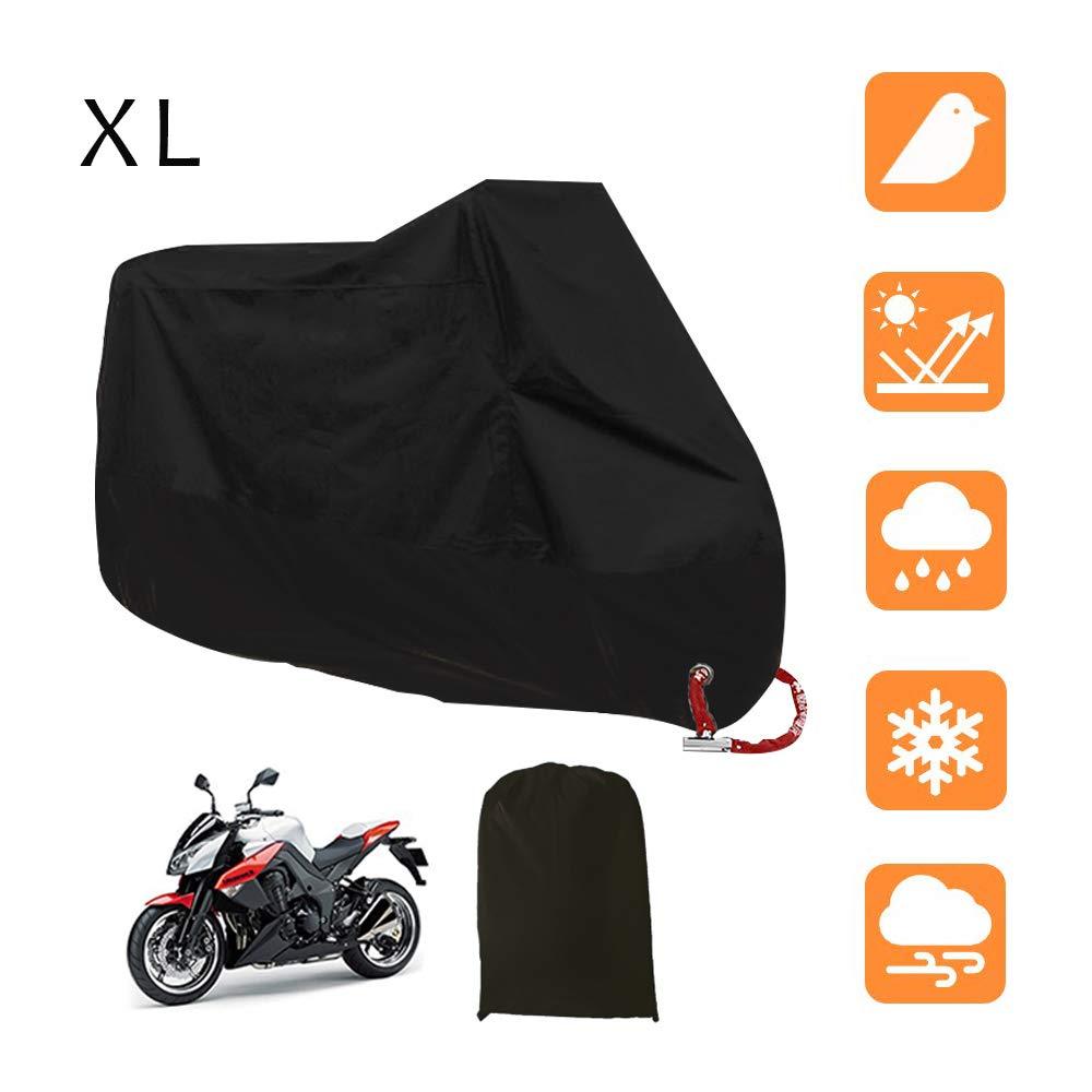 Nero e Argento 265X105X125cm LucaSng Universale Copertura del motociclo,190T Coprimoto Telo Impermeabile Antipolvere Anti UV Traspirante 3XXL