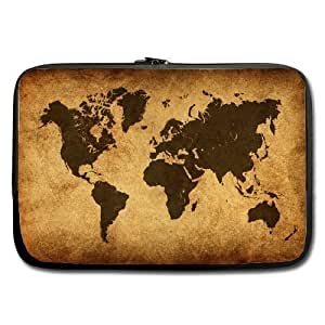 Coody Vintage Retro Style World Map Laptop Sleeves 13