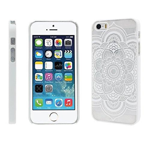 Culater® für iphone 5 5S geschnitzte Damast Henna Blumen Tasche zurück case cover Hülle weiß