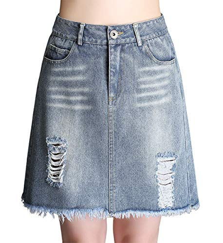 chouyatou Women's Distressed A-Line Flare Ripped Holes Frayed Raw Hem Mini Denim Jean Skirt (Large, Blue)