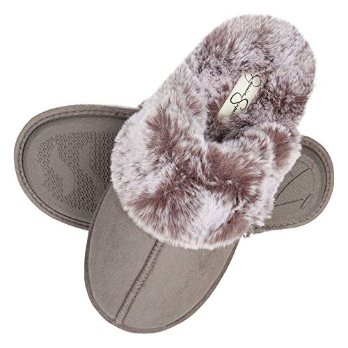 Image of Jessica Simpson Women's Comfy Faux Fur House Slipper Scuff Memory