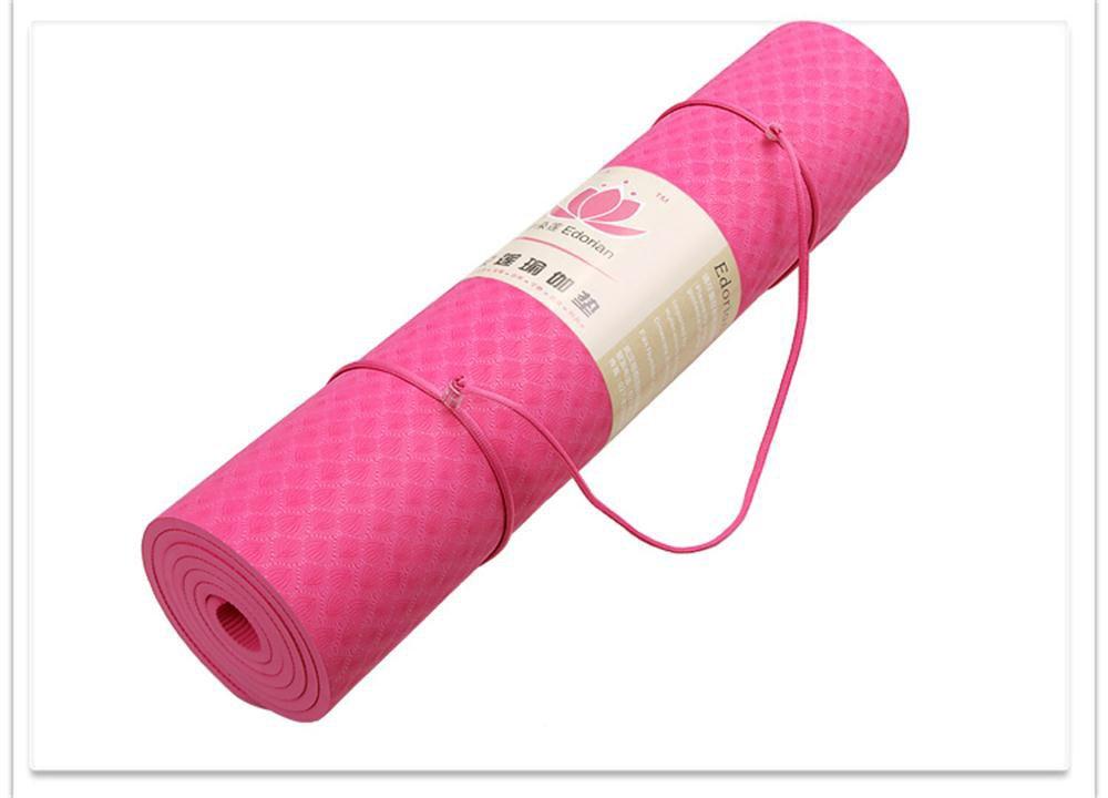 FS- 厚さ8mmヨガマット長くスリップTPEヨガマット B07KY4GSHX Pink Pink