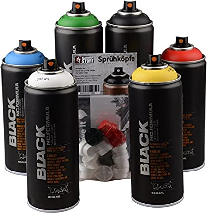 Montana Black Basic Colours Spray Paint Cans Set - 6 x 400ml cans +