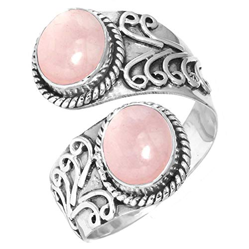 Natural Rose Quartz Women Jewelry 925 Sterling Silver Ring Size 11