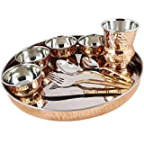 Dungri ® Dinnerware Set, Service for 1, Copper Stainless Steel Large Dinner Plate, Cutlery, Bowls, and Glass ( 1 thaliset )
