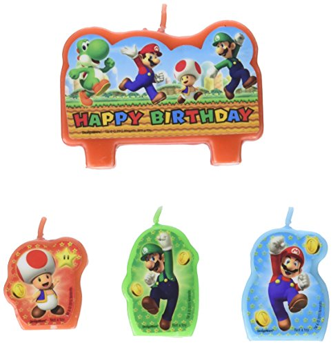Amscan Super Mario Brothers Birthday Party Molded Candle Cake Set Decoration, Wax, Pack of 4