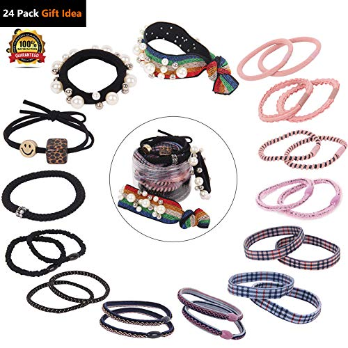 24 Pack Assorted Classic Elastic Hair Ties Ponytail Holder Rubber Bands Scrunchies w/Rainbow Mylar Pearls Stones Leopard Stripe Check Strong Stretch No Crease for Women Girls Teens Outfit Gift -