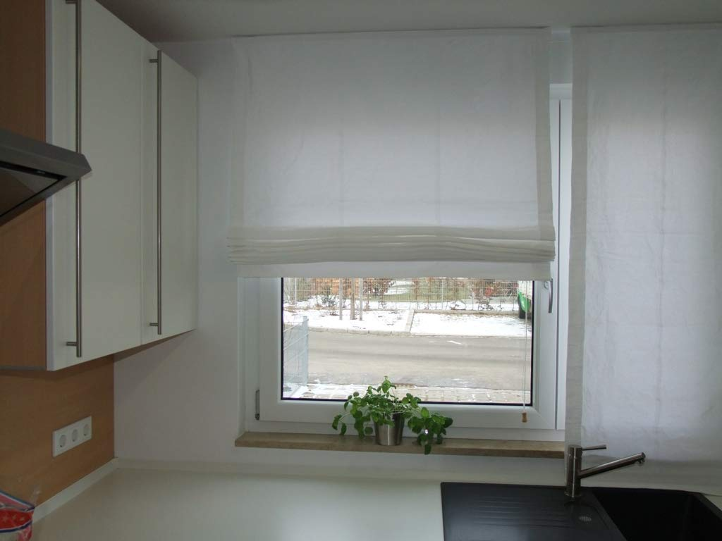 Lemos-Home Raffrollo aus 100% Baumwolle. Blickdichtes Stoffrollo. Weiss B 150 x H 160 cm. Weitere Farbe und Größen wählbar