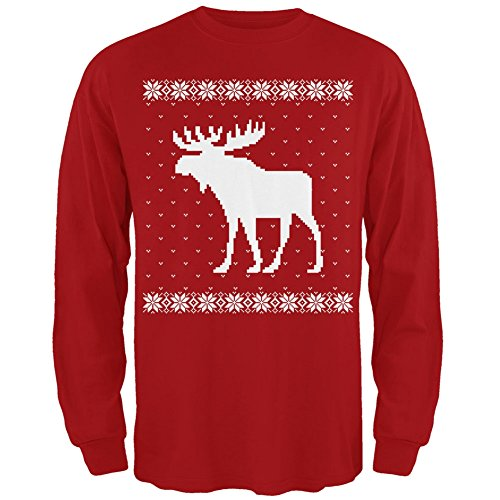 Big Moose Ugly Christmas Sweater Red Adult Long Sleeve T-Shi