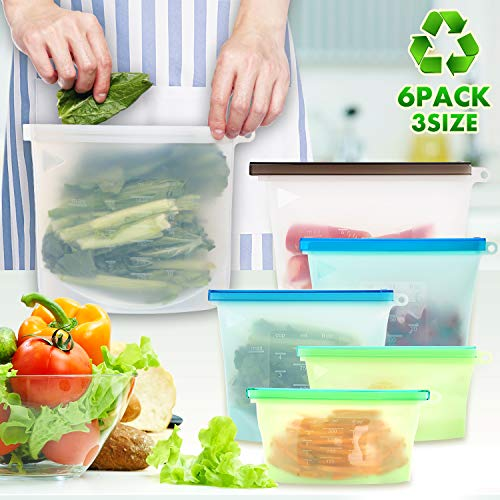 Reusable Food Storage Bags, Fvgia Reusable Silicone Food Bag Leakproof Reusable Sandwich Bags Eco-Friendly Reusable Bags for Vegetables Fruits Snacks (6 Packs)