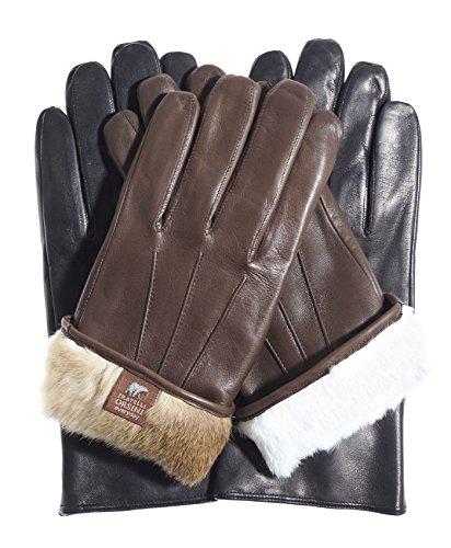 (Fratelli Orsini Everyday Men's Our Bestselling Italian Rabbit Fur Gloves Size L Color Black)