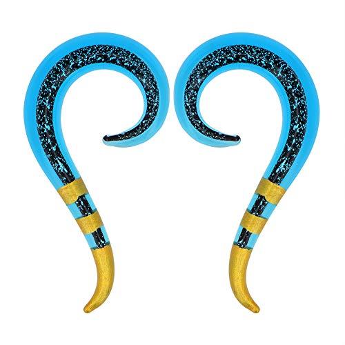 MoBody One Pair Pyrex Glass Ear Gauge Taper Hangers 4G-12mm Handmade Blue Gold Striped Glass Ear Gauge Plugs Set (2G (6mm))
