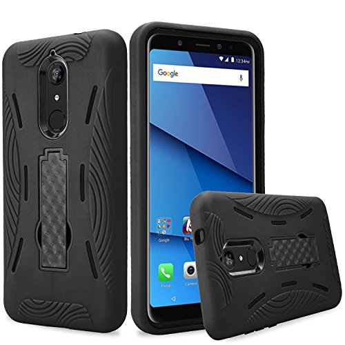 BLU Vivo XL3 Plus case, (V0210WW) 6 inch case,Heavy Duty Rugged Hard Cover with Hybrid Dual Layer Shock-Absorption Protection with Kickstand Case for BLU Vivo XL3 Plus (HVD Black/Black)