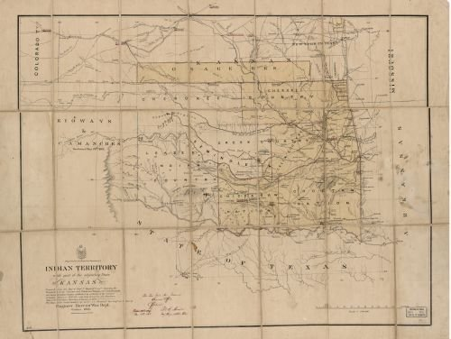 1866 Map Indian Territory, with part of the adjoining state of Kansas, &c. - Size: 18x24 - Ready to ()