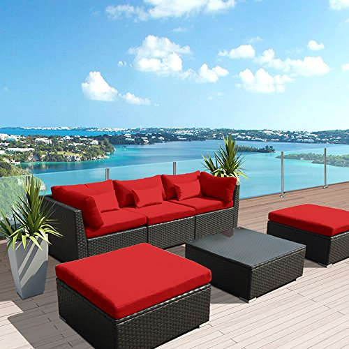 Modenzi 6C-U Outdoor Sectional Patio Furniture Espresso Brown Wicker Sofa Set (Red)