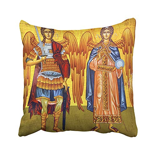 Emvency Decorative Throw Pillow Case Cushion Cover Madaba November 25 2016 Saint Michael Angels Golden George's Greek Orthodox 20x20 Inch Cases Square Pillowcases Covers For Sofa Two Sides Print