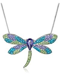 """Sterling Silver with Swarovski Elements Multicolored Dragonfly Pendant Necklace, 18"""""""