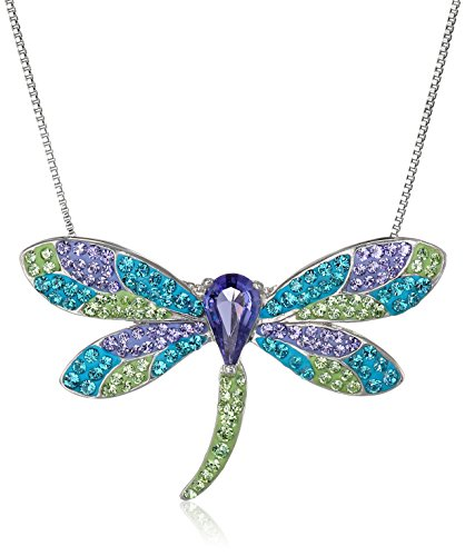 Crystaluxe Dragonfly Pendant Necklace with Swarovski Crystals in Sterling Silver ()