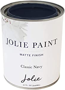 Jolie Paint - Matte finish paint for furniture, cabinets, floors, walls, home decor and accessories - Water-based, Non-toxic (Quart - 32oz, Classic Navy)