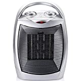 700W/1500W Ceramic Space Heater with Adjustable Thermostat, Portable Electric Heater Fan with Overheat Protection and Tip-Over Protection for Office Home Bedroom