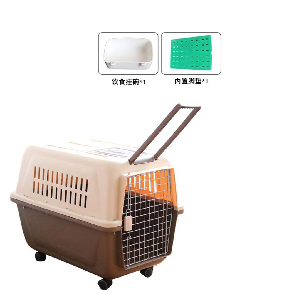 Brown 81x57x68cmZUOZUOZUO Pet Air Box Dog Cat Out Of The Box Air Transport Check Box Suitcase Transport Cat Cage Portable Out Brown 81X57X68Cm