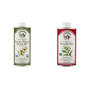 La Tourangelle, Organic Extra Virgin Olive Oil, 25.4 Fl Oz & Toasted Sesame Oil – Rich, Deep, Delicious Flavor – All-natural, Expeller-pressed, Non-GMO, Kosher – 16.9 Fl. Oz.