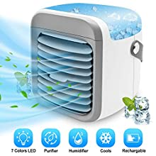 Portable Air Conditioner Fan | ALLYAG Evaporative Air Cooler with Humidifier & Filtration Function | Personal Small Air Conditioner Desk Fan with 7 Color Night Light Waterbox for Home Office Bedroom