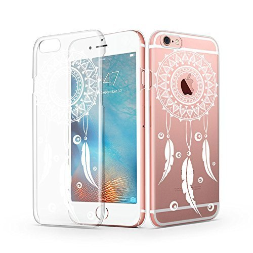 iPhone 6s Case, iPhone 6 Case, MOSNOVO White Totem Henna Mandala Dream Catcher Design Custom Printed Transparent Plastic Clear Ultra Thin Slim Hard Case Cover for iPhone 6 4.7 Inch