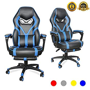 Image of LUCKWIND Video Gaming Chair Racing Recliner - Ergonomic Adjustable Padded Armrest Swivel High Back Footrest with Headrest Lumbar Support PU Leather Breathable Seat Cushion Home Office (Black & Blue) Home and Kitchen