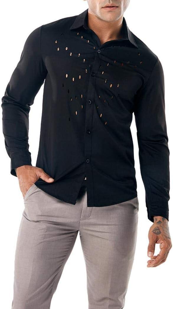 Dreamyth Mens Pure Color Casual Shirts Long Sleeve Shirt Hollow Shirt Top Blouse