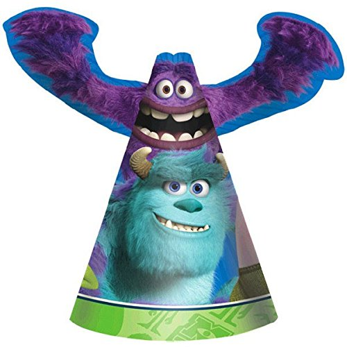 Monsters Inc Hard Hat (Amscan Oozma-Kappa-Mazing Disney Monsters University Die-Cut Paper Birthday Party Cone Hats Supply (Pack of 8), Multicolor, 6