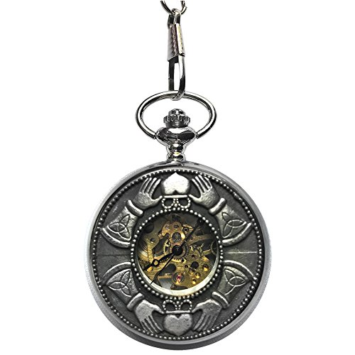 Celtic Claddagh Watch (Men's Pewter Skeleton Mechanical Pocket Watch with Chain Made in Ireland by Mullingar (Claddagh))
