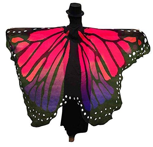 Farktop 73Inch x 55Inch Women's Butterfly Wings Shawl Fairy Ladies Nymph Pixie Chiffon Costume Accessory (Butterfly Wings For Costume)