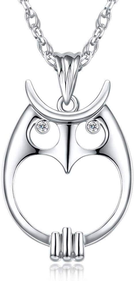 D&XQX Las Mujeres óptico Collar Largo Pendiente Cristales de la Cadena del Collar de Cristal Zoom 2X búho rodio Pendiente Regalo del Color Oro de Novia y Chicas