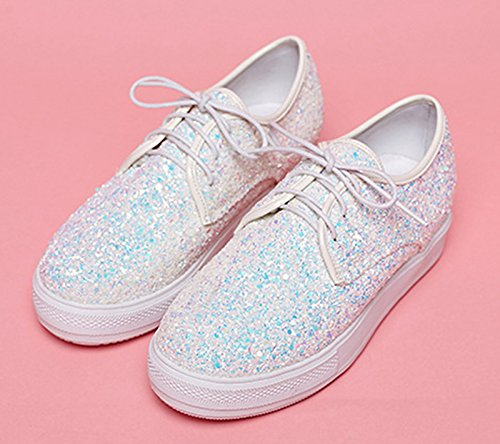 Flats Simple Causal Top Women's Low Lace du Platform Shoes sequin Toe up Work white Round Jiu qtwFxInTfW