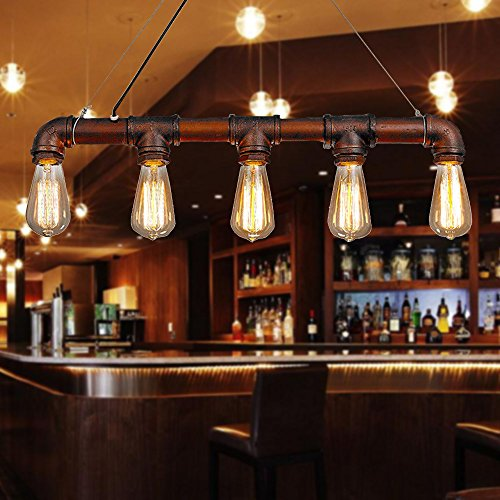 Lixada Retro Vintage Personality Bronze Metal Water Pipe Shaped Hanging Drop Pendant Lamp Holder Light Base for 5 E27 Bulbs Room Bar Decoration